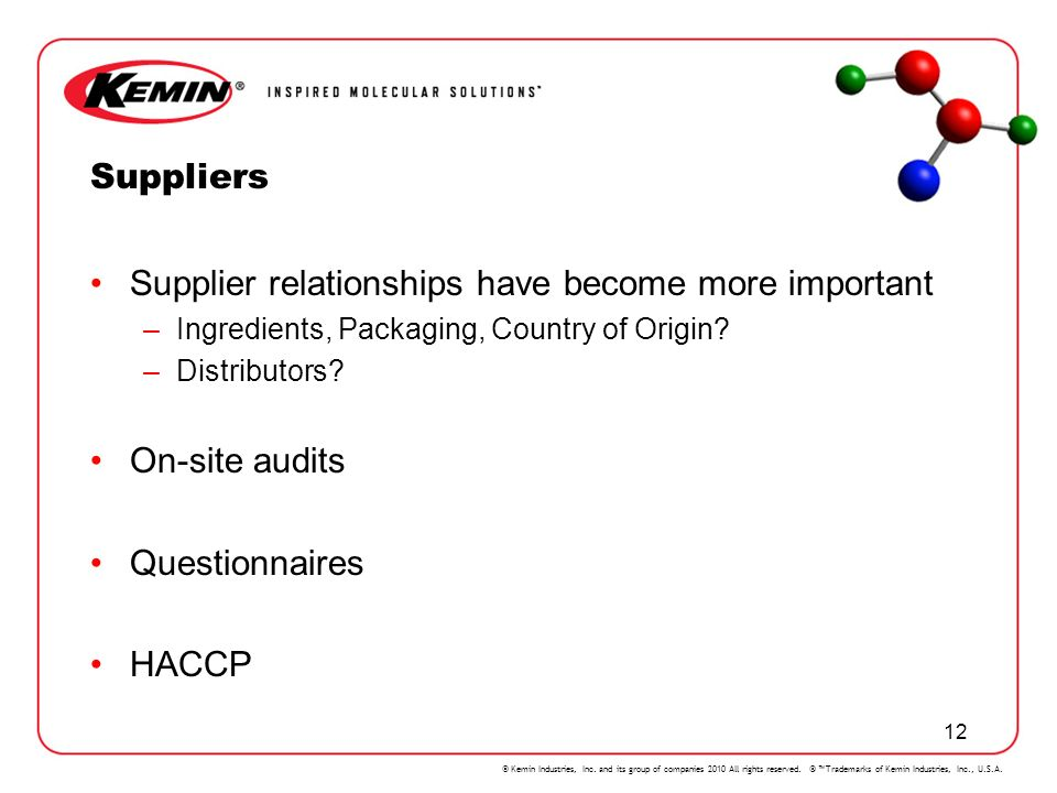 Supplier relationships have become more important