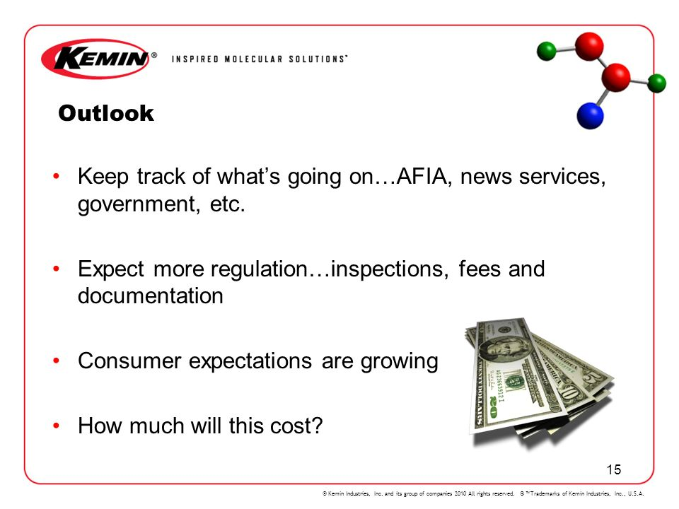 Outlook Keep track of what's going on…AFIA, news services, government, etc. Expect more regulation…inspections, fees and documentation.