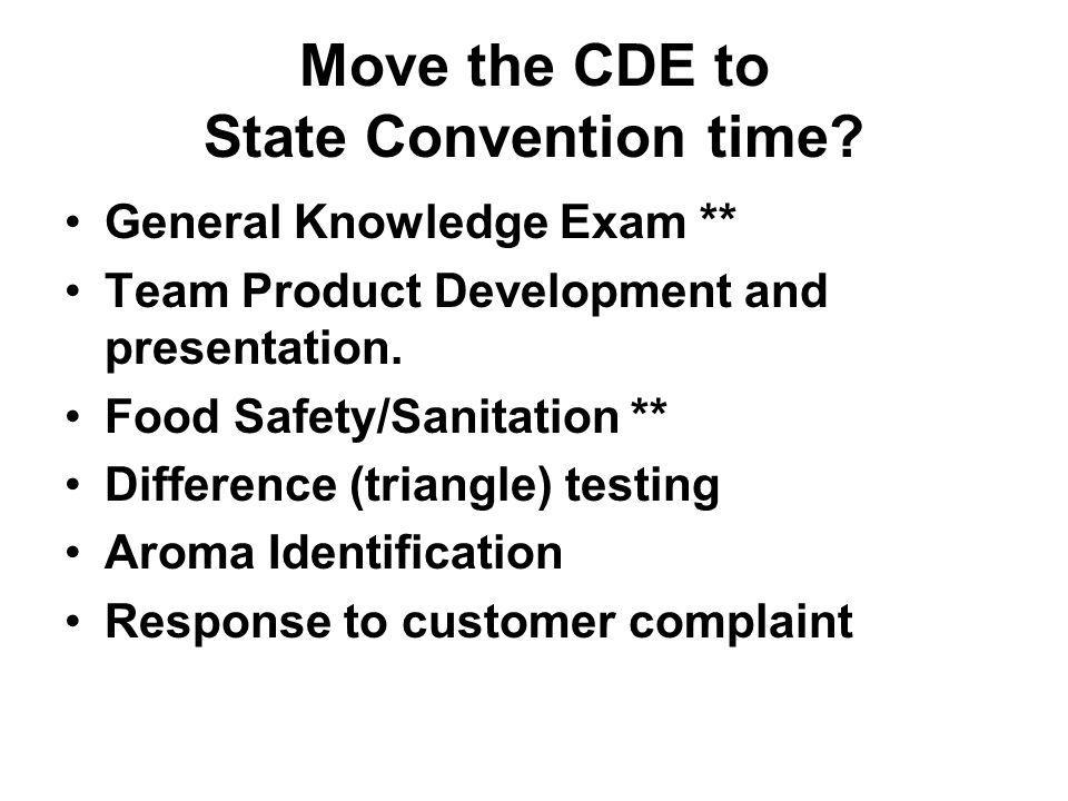 Move the CDE to State Convention time