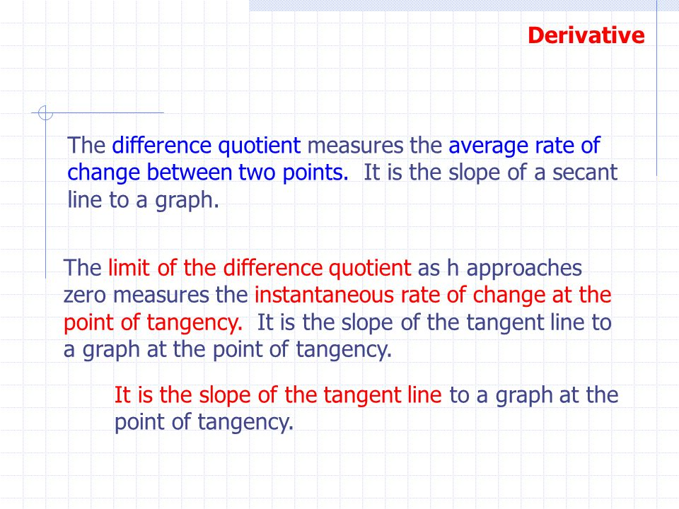 The difference quotient measures the average rate of change between two points. It is the slope of a secant line to a graph.