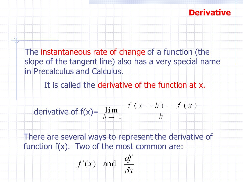 The instantaneous rate of change of a function (the slope of the tangent line) also has a very special name in Precalculus and Calculus.