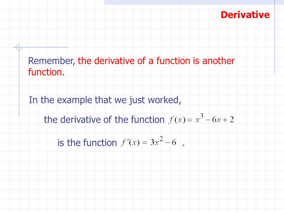 Remember, the derivative of a function is another function.