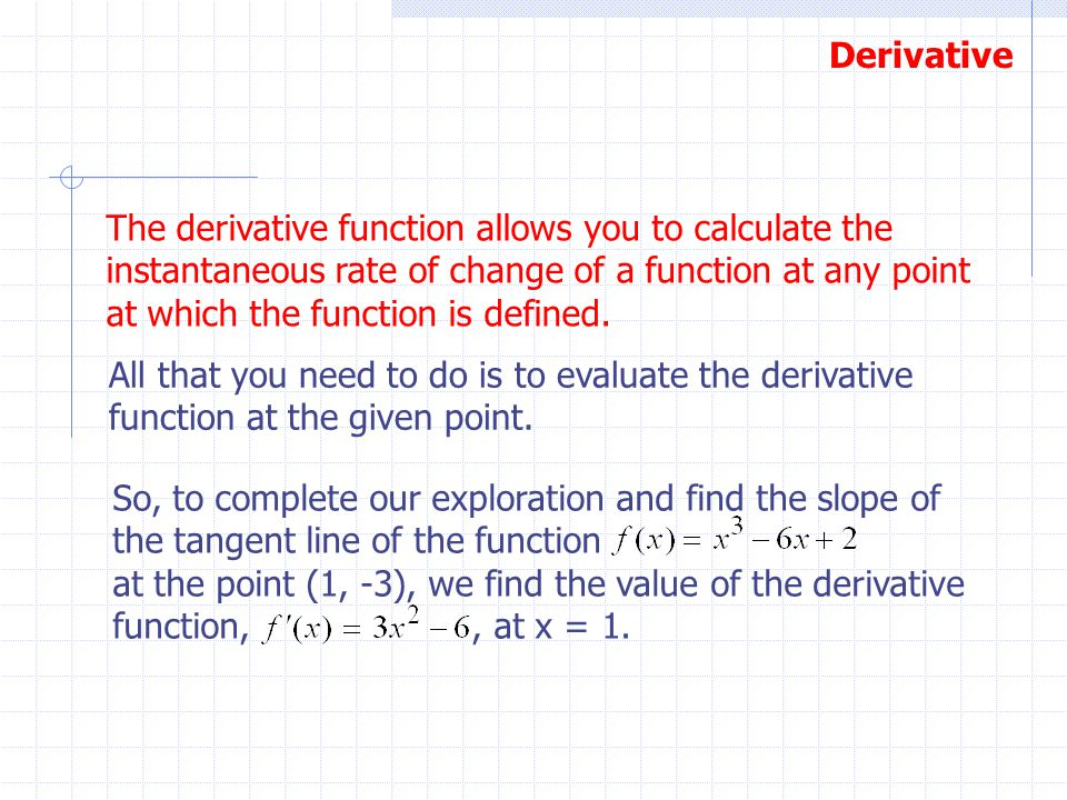 The derivative function allows you to calculate the instantaneous rate of change of a function at any point at which the function is defined.