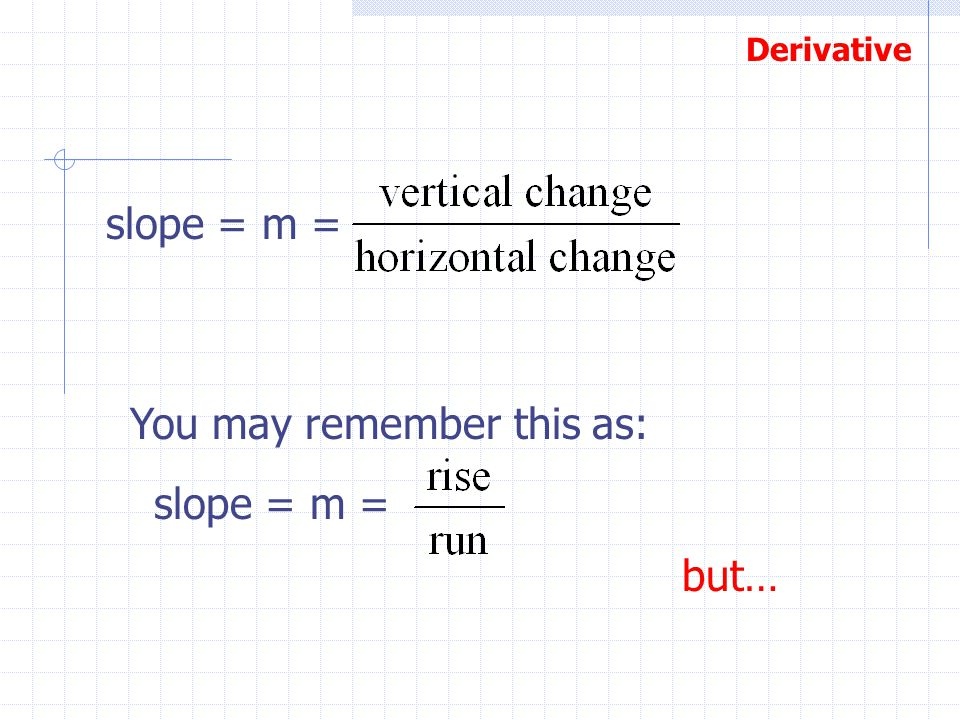 slope = m = You may remember this as: slope = m = but…