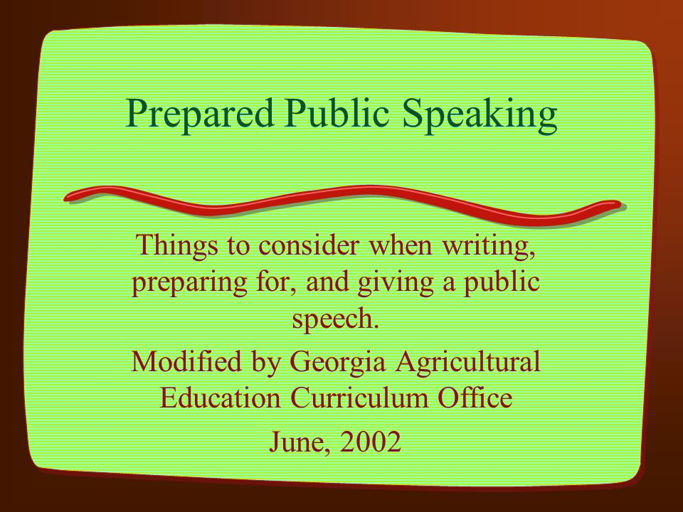 Prepared Public Speaking