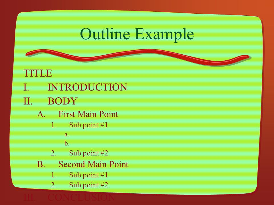 Outline Example TITLE INTRODUCTION BODY CONCLUSION First Main Point