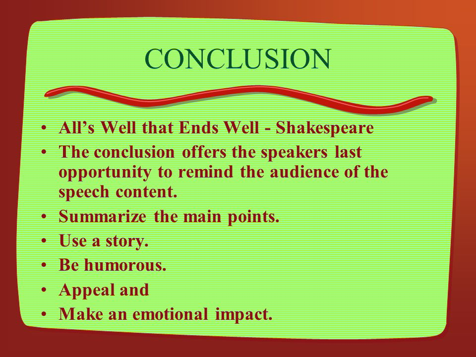 CONCLUSION All's Well that Ends Well - Shakespeare