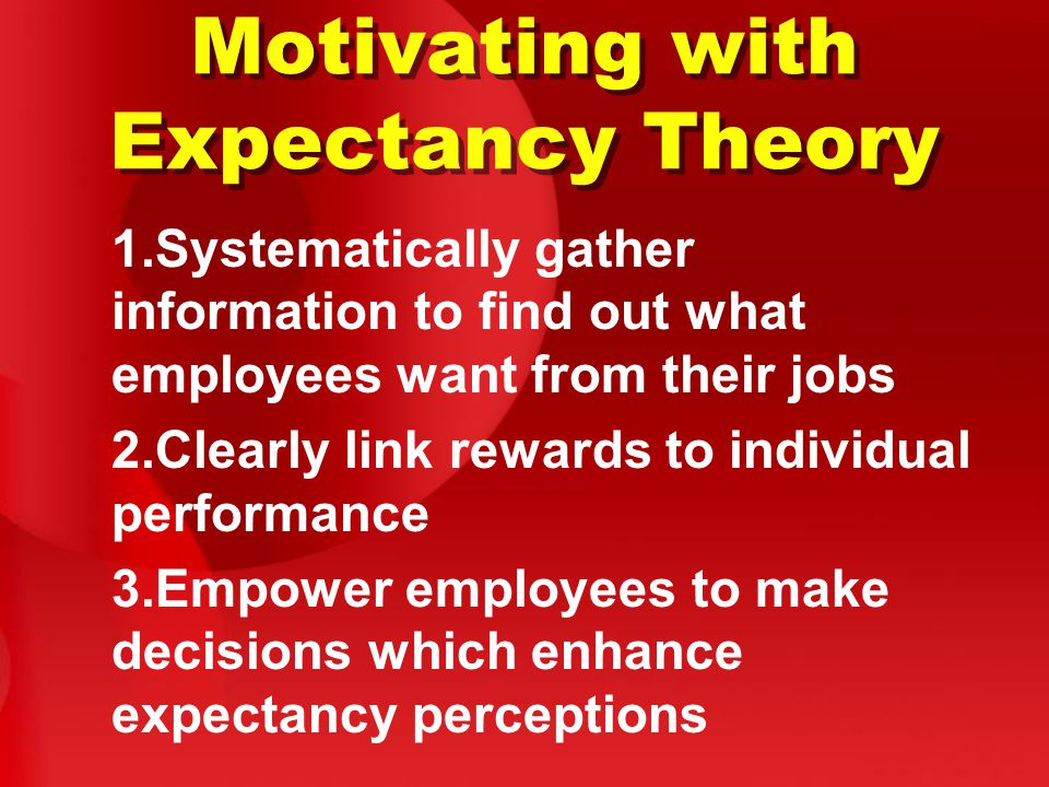 Motivating with Expectancy Theory