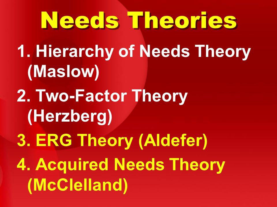 Needs Theories 1. Hierarchy of Needs Theory (Maslow)