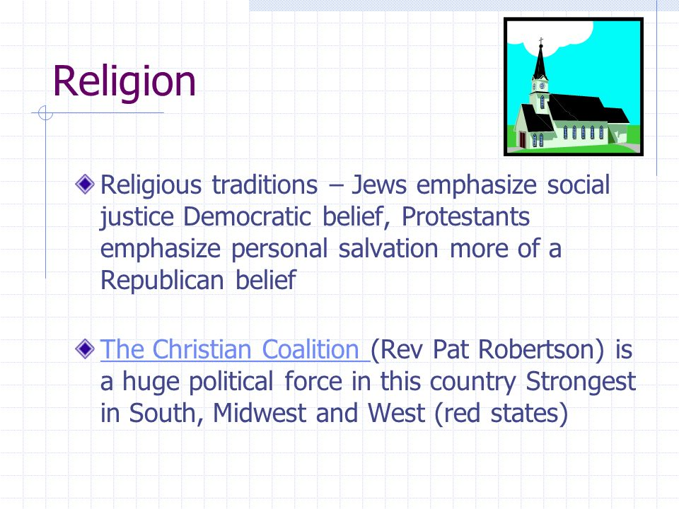 Religion Religious traditions – Jews emphasize social justice Democratic belief, Protestants emphasize personal salvation more of a Republican belief.