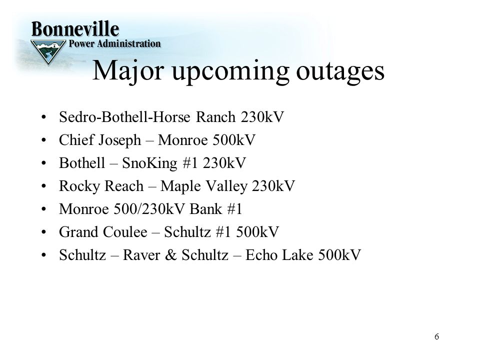 Major upcoming outages
