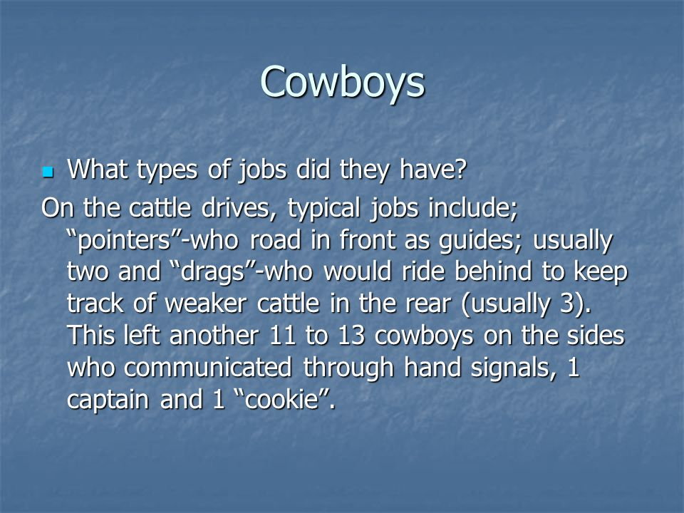 Cowboys What types of jobs did they have