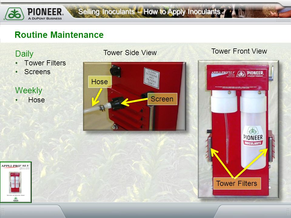 Routine Maintenance Daily Weekly Tower Front View Tower Side View
