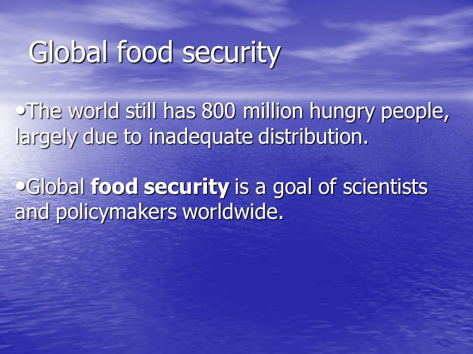 Global food security The world still has 800 million hungry people, largely due to inadequate distribution.