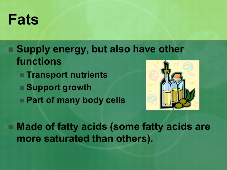 Fats Supply energy, but also have other functions