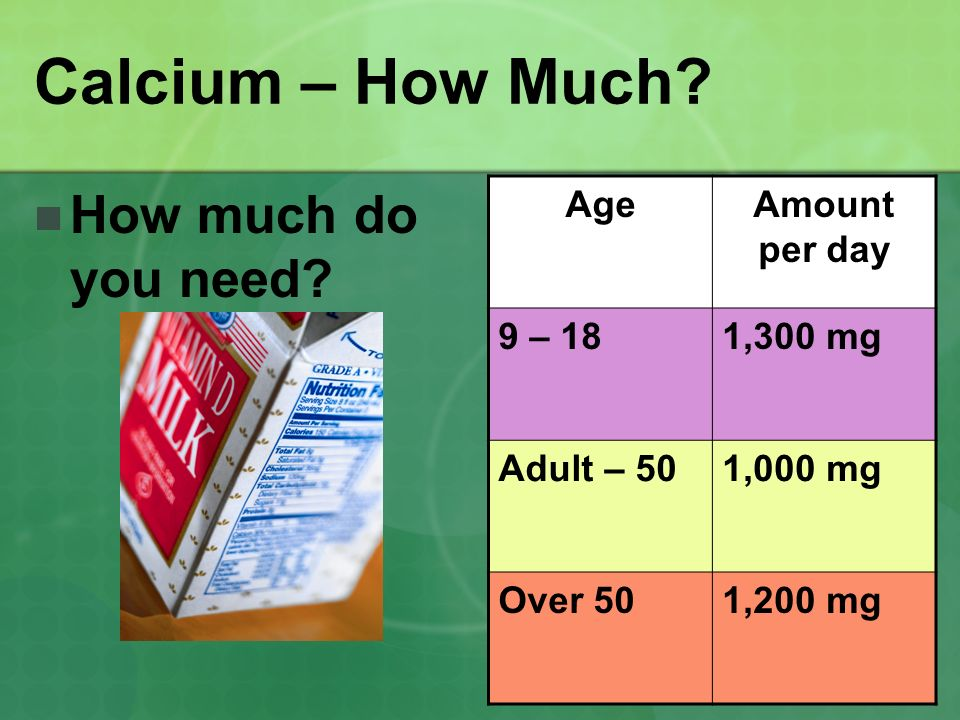 Calcium – How Much How much do you need Age Amount per day 9 – 18