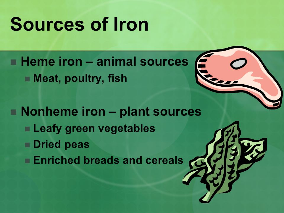 Sources of Iron Heme iron – animal sources