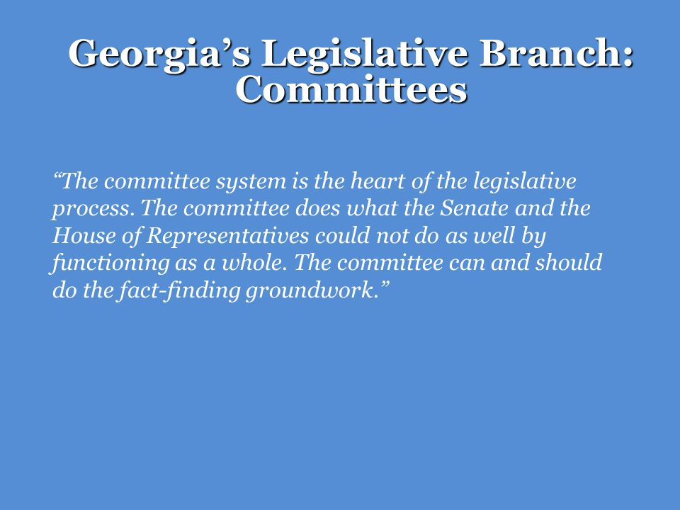 Georgia's Legislative Branch: Committees
