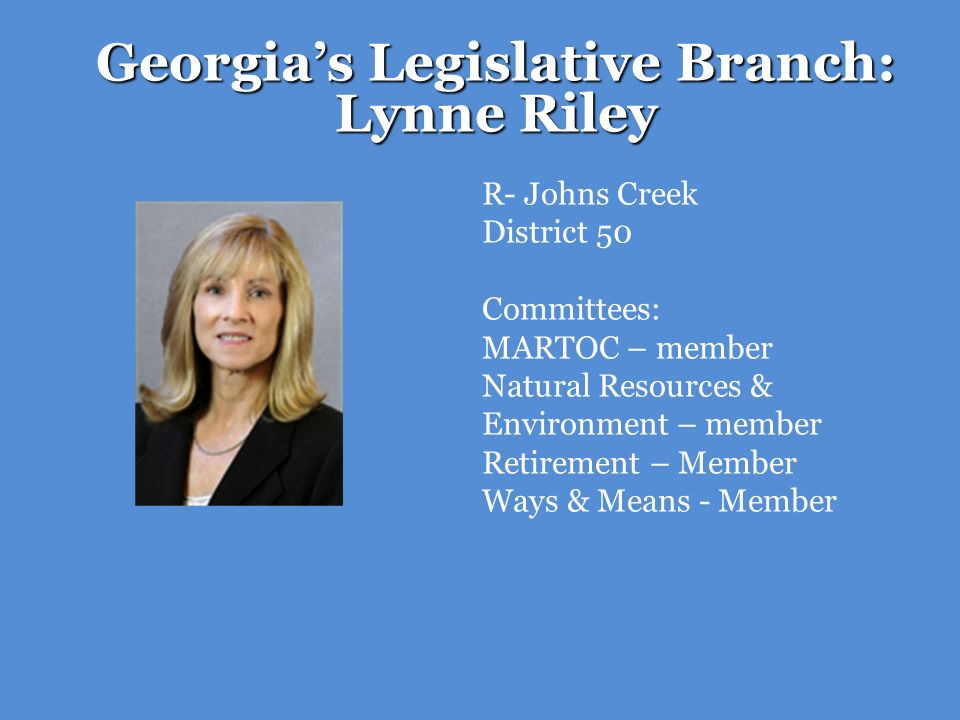 Georgia's Legislative Branch: Lynne Riley