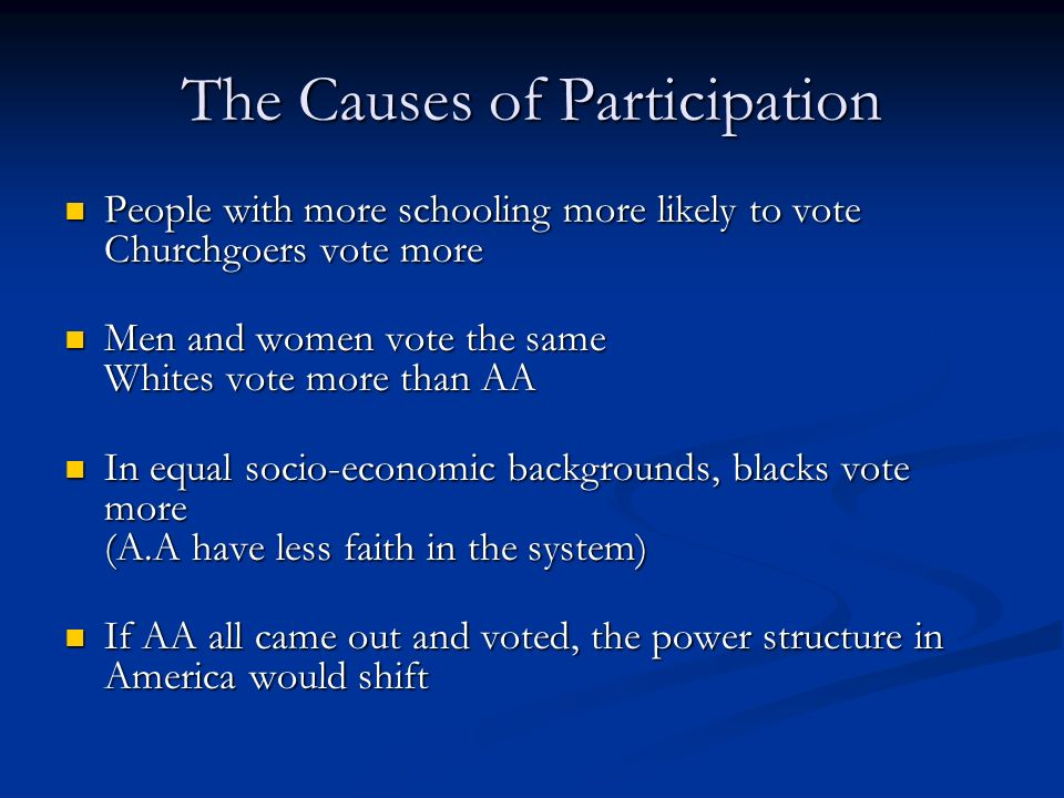 The Causes of Participation