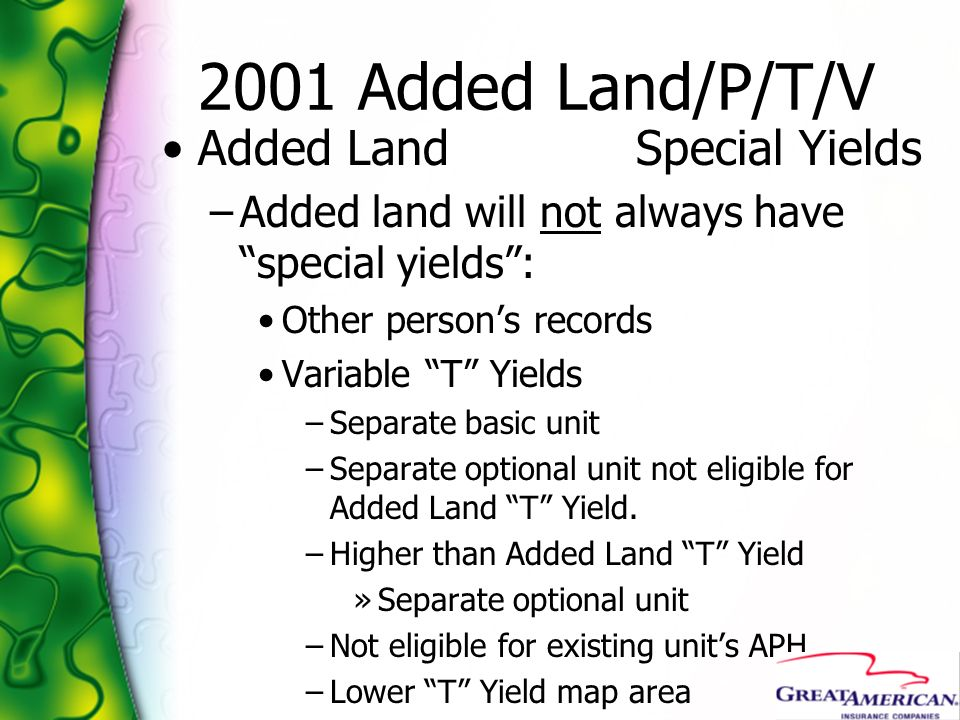 2001 Added Land/P/T/V Added Land Special Yields