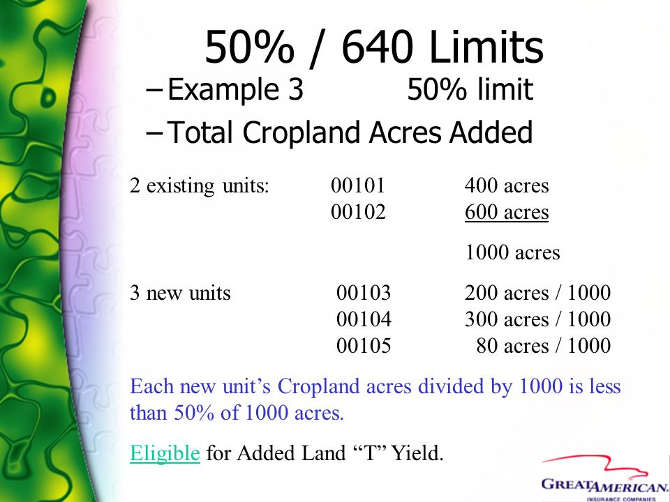 50% / 640 Limits Example 3 50% limit Total Cropland Acres Added