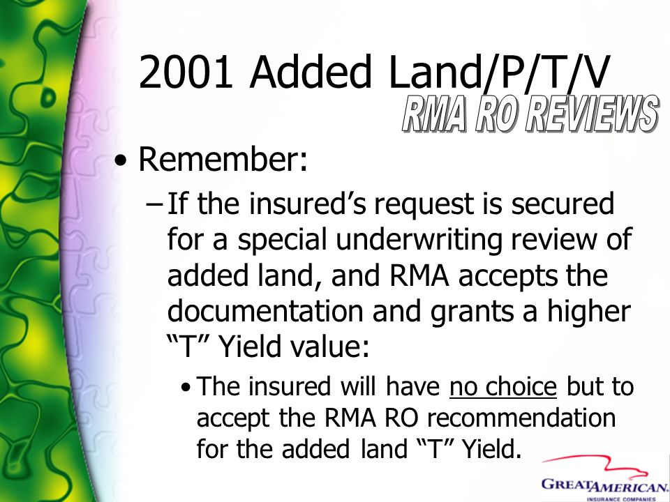 2001 Added Land/P/T/V Remember:
