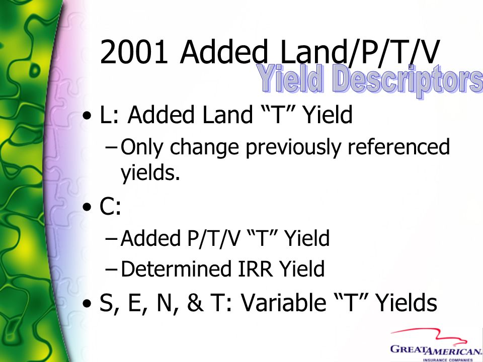 2001 Added Land/P/T/V Yield Descriptors L: Added Land T Yield C: