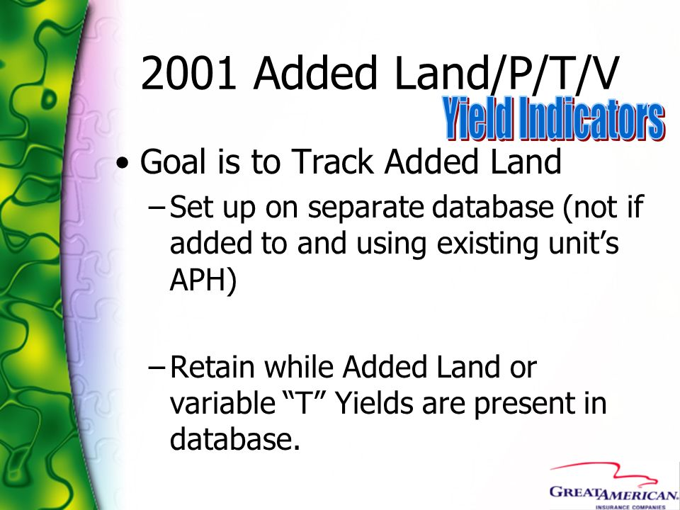 2001 Added Land/P/T/V Yield Indicators Goal is to Track Added Land