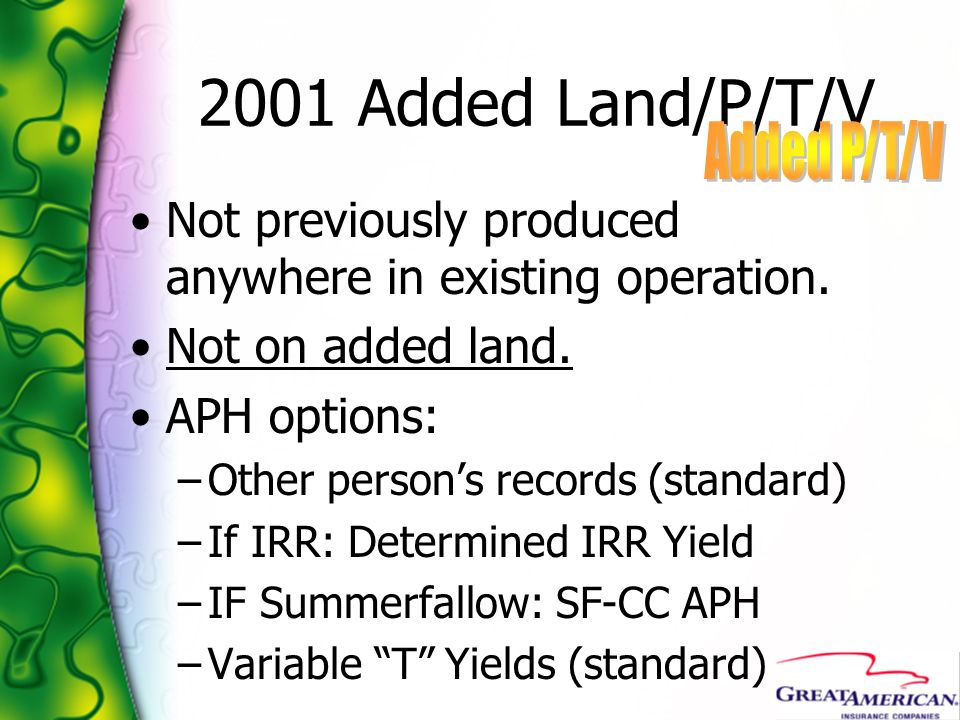 2001 Added Land/P/T/V Added P/T/V