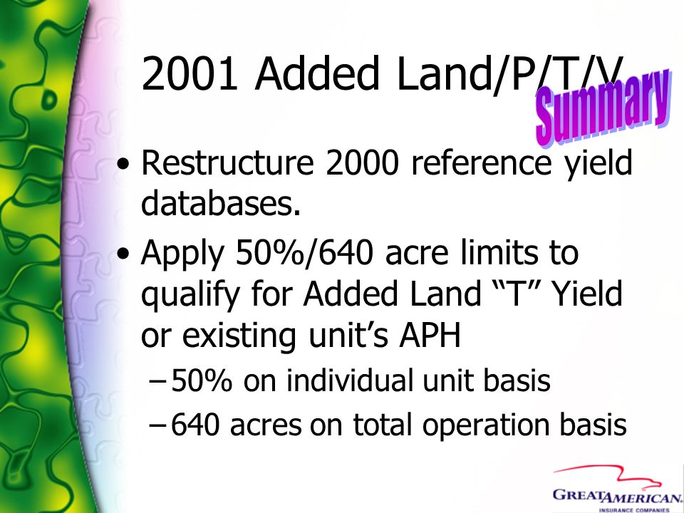 2001 Added Land/P/T/V Summary