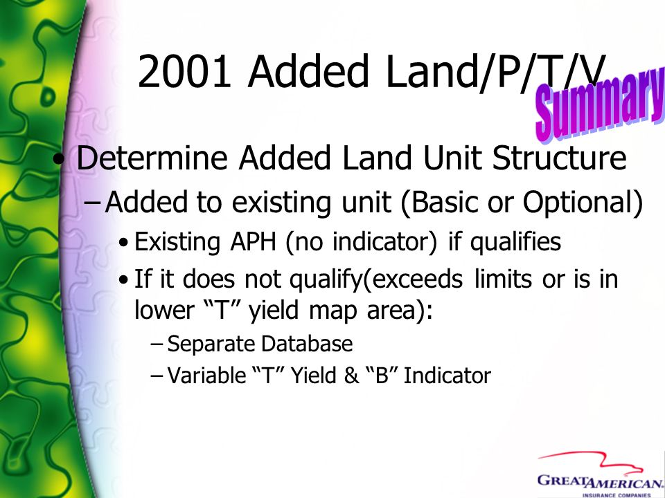 2001 Added Land/P/T/V Summary Determine Added Land Unit Structure