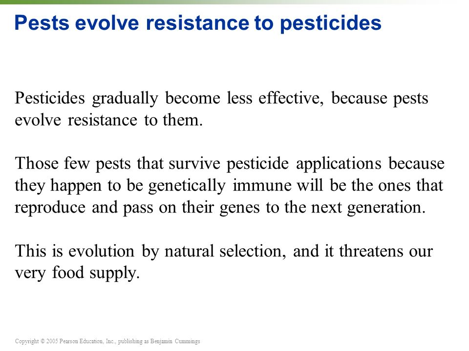 Pests evolve resistance to pesticides