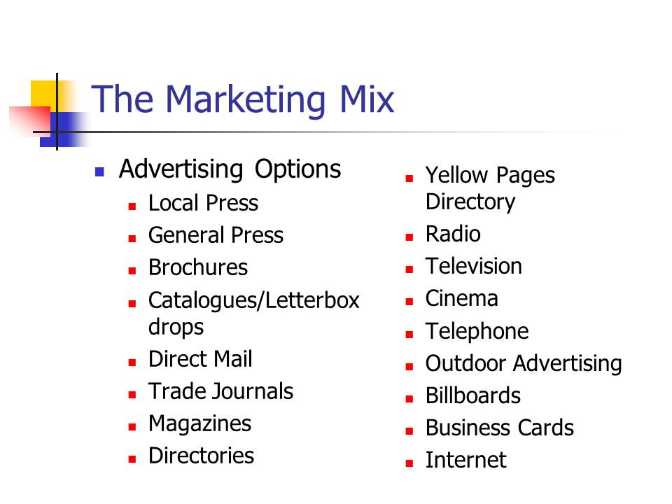 The Marketing Mix Advertising Options Yellow Pages Directory