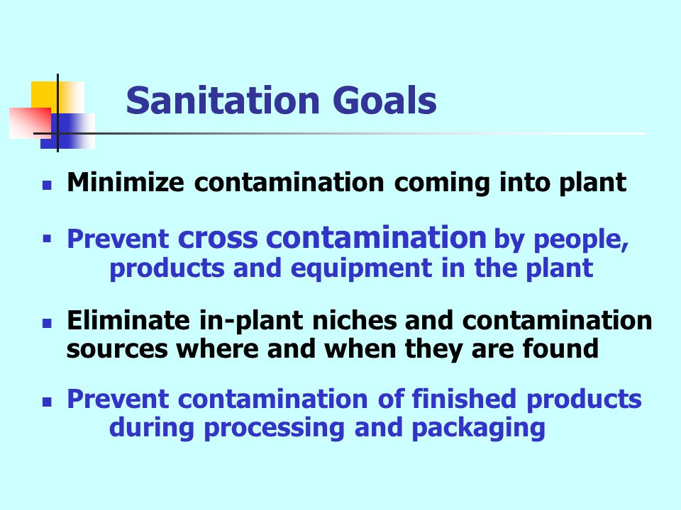 Sanitation Goals Minimize contamination coming into plant