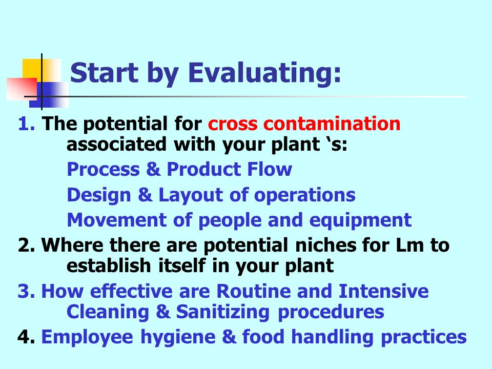 Start by Evaluating: The potential for cross contamination associated with your plant 's: Process & Product Flow.