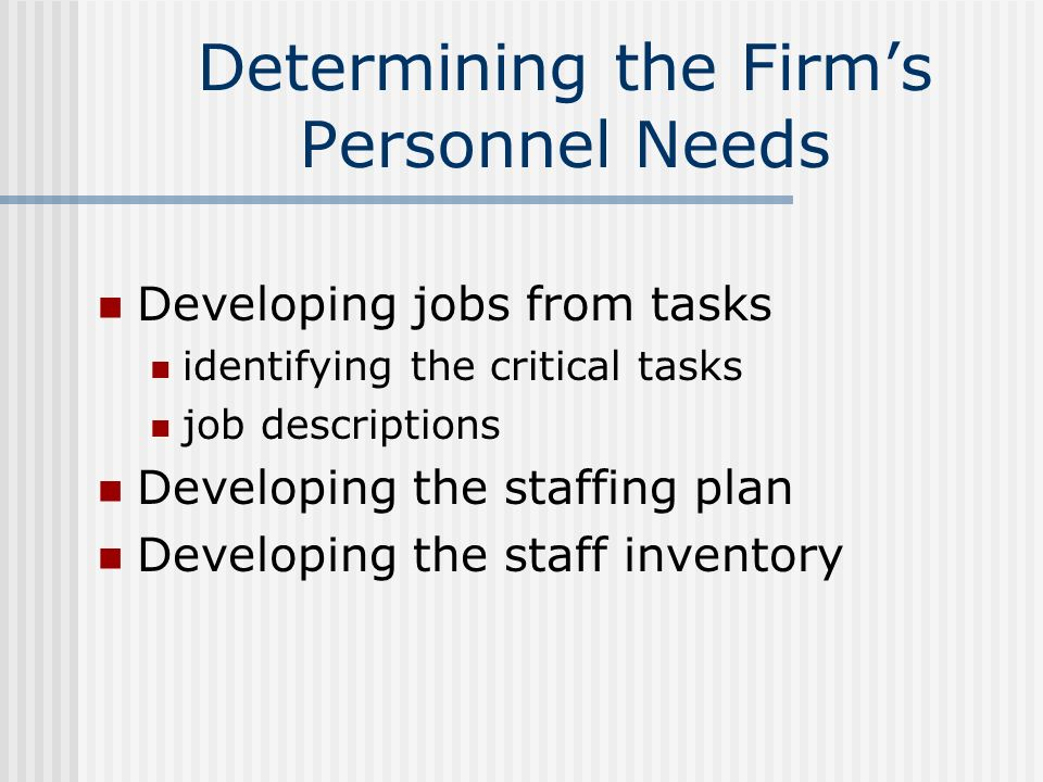 Determining the Firm's Personnel Needs