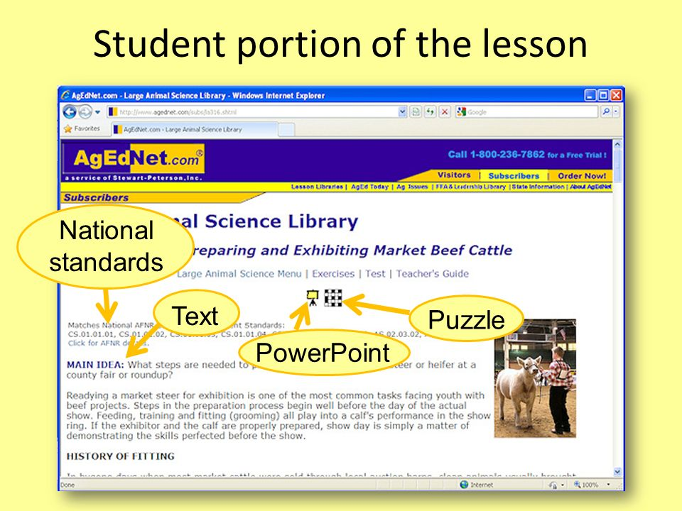 Student portion of the lesson