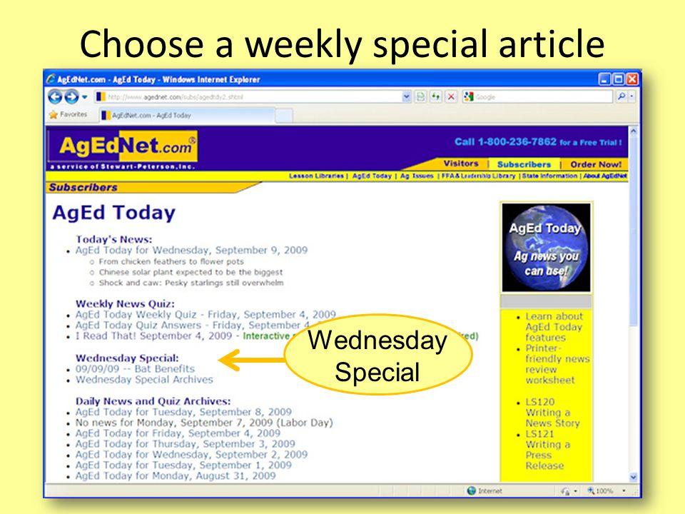 Choose a weekly special article