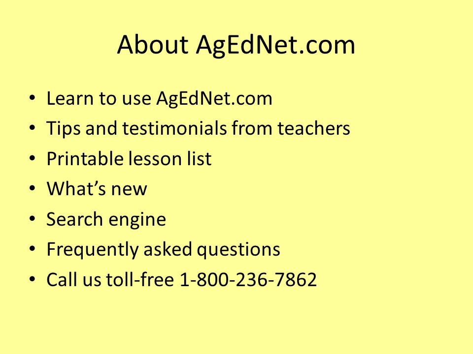 About AgEdNet.com Learn to use AgEdNet.com