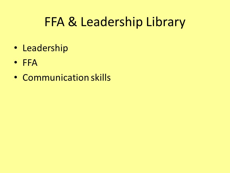 FFA & Leadership Library
