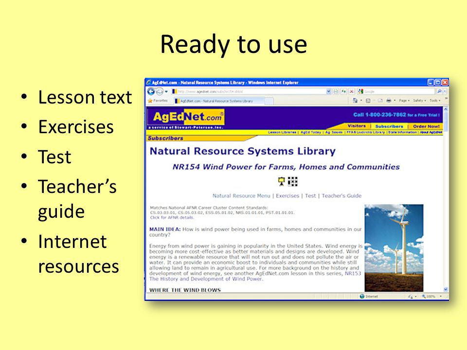 Ready to use Lesson text Exercises Test Teacher's guide