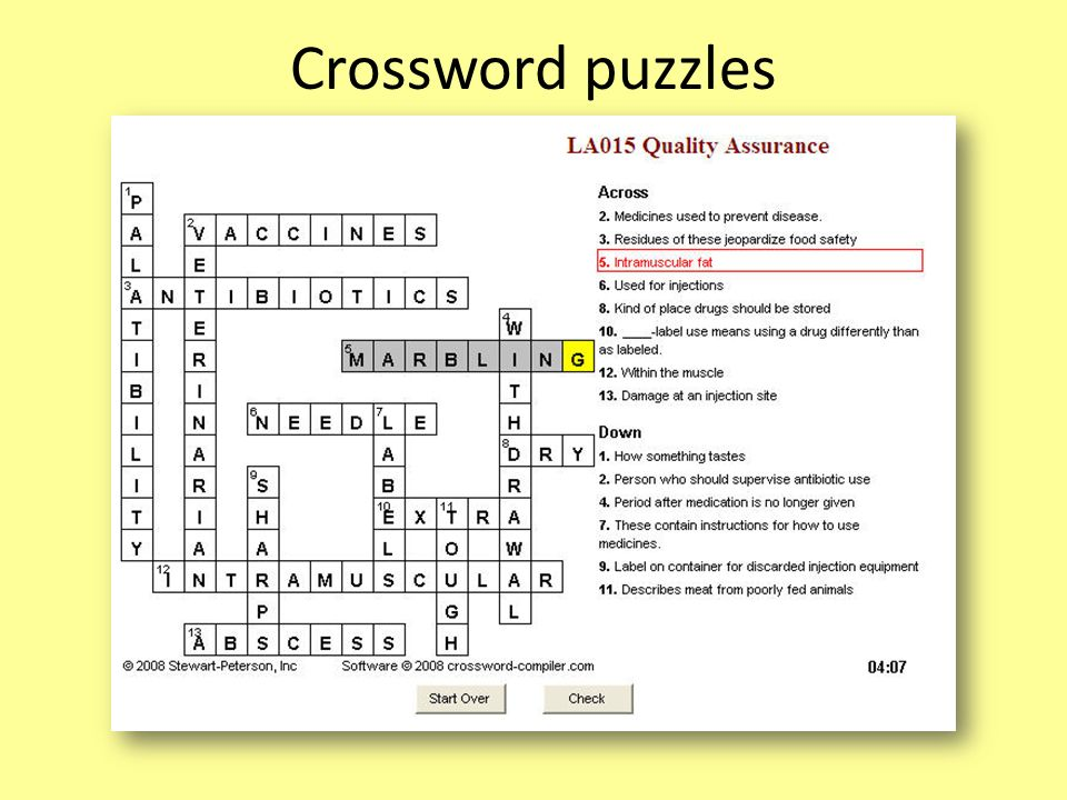 Crossword puzzles Crossword puzzles add another way to reinforce lesson vocabulary.