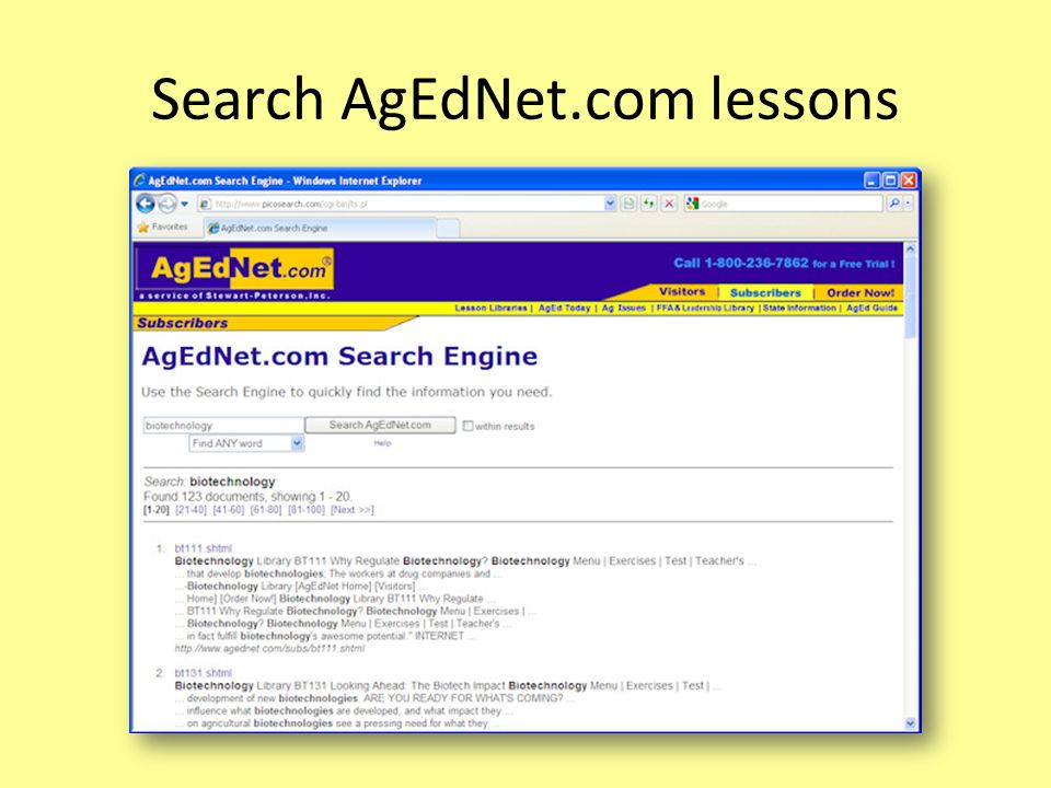 Search AgEdNet.com lessons