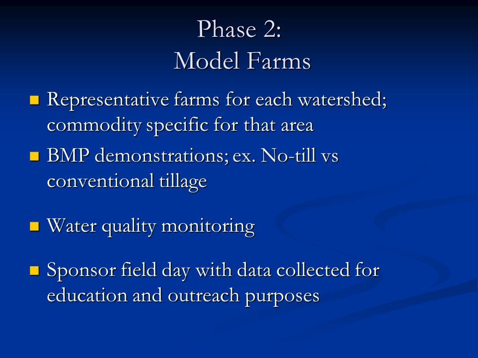 Phase 2: Model Farms Representative farms for each watershed; commodity specific for that area.
