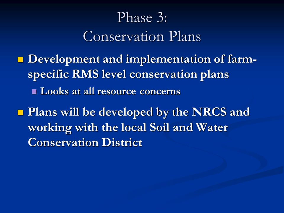 Phase 3: Conservation Plans