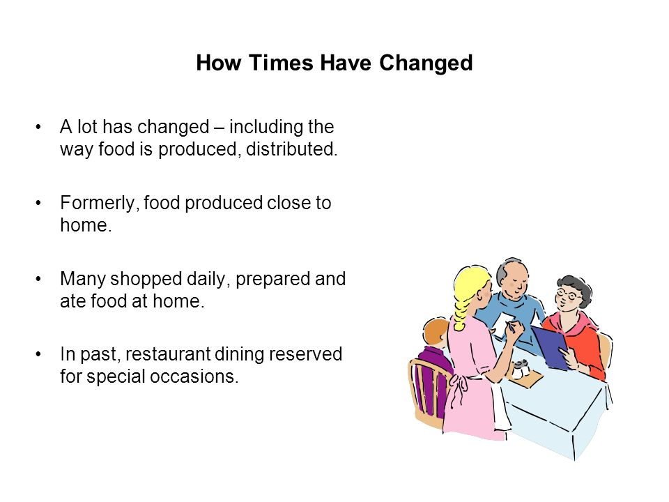 How Times Have Changed A lot has changed – including the way food is produced, distributed. Formerly, food produced close to home.