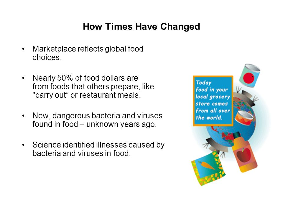 How Times Have Changed Marketplace reflects global food choices.