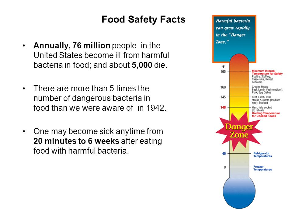 Food Safety Facts Annually, 76 million people in the United States become ill from harmful bacteria in food; and about 5,000 die.