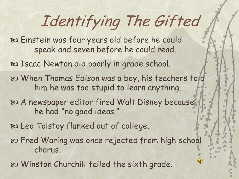 Identifying The Gifted